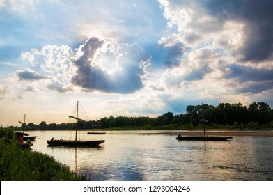 Traditional Boats on the Loire River Near Chaumont-sur-Loire in the Loire Valley, France