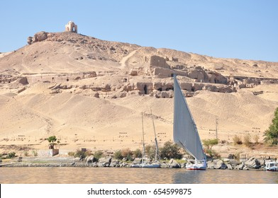 Traditional Boats on the Nile River in the Aswan West Bank, Egypt