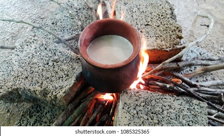 Traditional boiling of milk during Sinhala and Tamil new year celebration in Sri Lanka