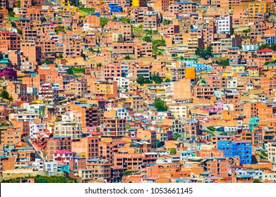 Traditional bolivian houses on the hills in La Paz city, Bolivia
