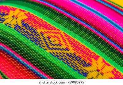 Traditional Bolivian, Peruvian, and Andean colored fabri