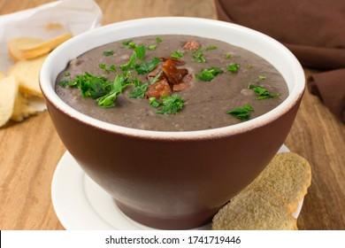 Traditional Brazilian beans soup called caldo de feijão