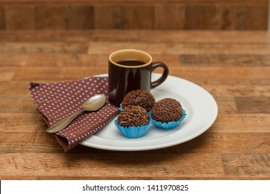 Traditional Brazilian chocolate candy called brigadeiro in coffee gourmet version