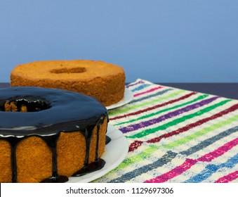 Traditional Brazilian dessert of chocolate carrot cake. Brazilian image of Junina's party culture concept.