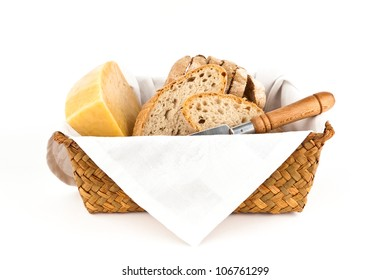 Traditional bread and cheese isolated on white background.