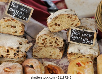 Traditional bread with grapes and figs at Provence market in Aix-en-Provence, France