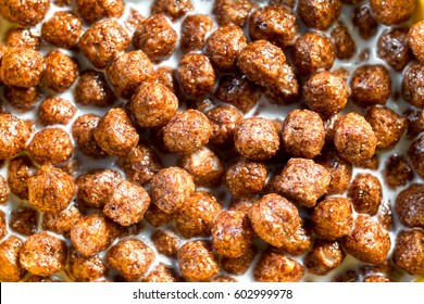 Traditional breakfast cereal chocolate balls with milk.
