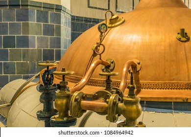 Traditional brewing tanks in old  brewery