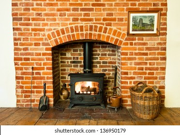 Traditional brickwork stove and fireplace.