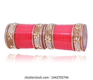 Traditional Bridal Pink Stone Chura