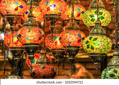 Traditional bright decorative hanging Turkish lights and colourful light lamps with vivid colours  in Turkey Pavilion, Global Village, Dubai, United Arab Emirates