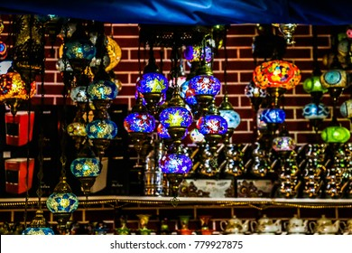 Traditional bright decorative hanging Turkish lamps and colourful lights with vivid colours  in Turkey Pavilion, Global Village, Dubai, United Arab Emirates