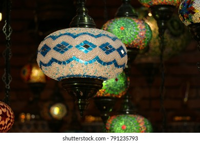 Traditional bright decorative hanging Turkish lamps and colourful lights with vivid colours  in the Istanbul Bazaar, Turkey