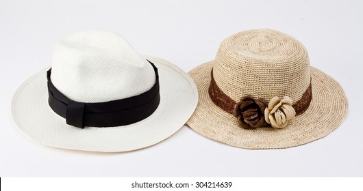 ba1260a6 Traditional brimmed straw panama hats from Ecuador isolated on white