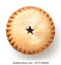 Traditional british christmas mince pie isolated on white. Top view. - Shutterstock ID 1577745433