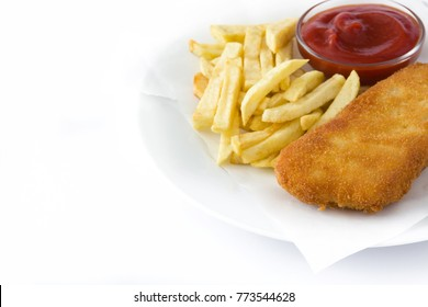 Traditional British fish and chips isolated on white background