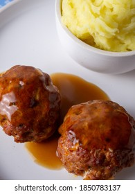 traditional British food meat faggots served with gravy