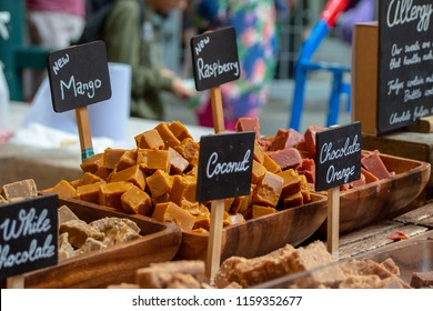 Traditional British Fudge on sale at a confectionary stall in London's Borough Market, UK