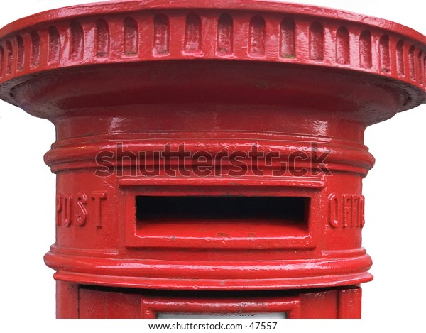 Traditional British pillarbox or postbox, a Victorian design that remains widely in use today.