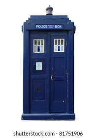 Traditional British police box; straight-on view of old-fashioned police box, isolated against white ground