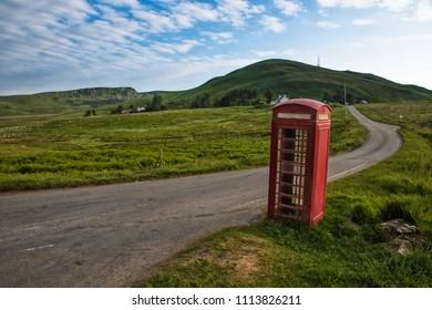 traditional british red  telephone box in Isle of Skye, Scotland