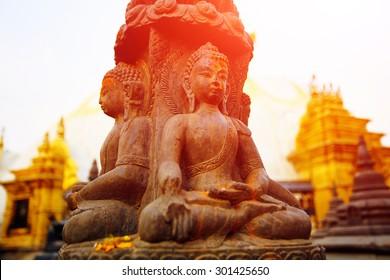 Traditional Buddha statue in Swoyambhunath Temple,  Kathmandu, Nepal