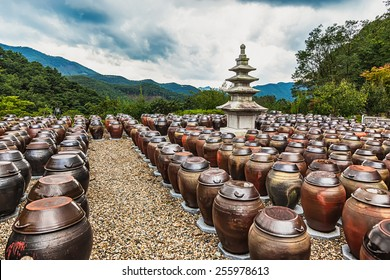 Traditional buddhist monks metal brown pots in South Korea