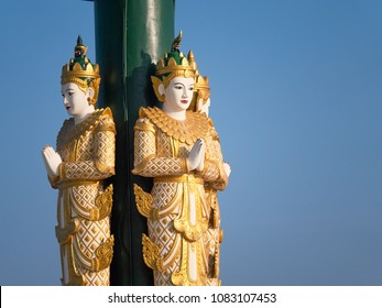 Traditional Buddhist sculpture at the Ouparta Thandi Zedi pagoda in Naypyidaw, the capital of Myanmar.