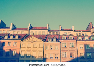 Traditional building in Old Town Warsaw with  soft retro filter
