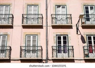 Traditional building windows background, Lisbon, Portugal