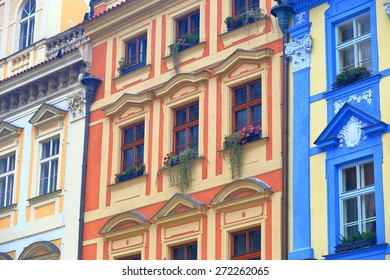 Traditional buildings with colorful facades on the streets of Prague Old Town, Czech Republic
