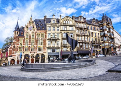Traditional buildings and houses on the streets of Brussels, Belgium