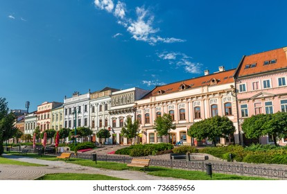 Traditional buildings in the old town of Presov in Slovakia