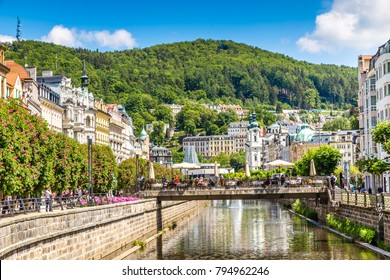 Traditional Buildings And Tepla River - Karlovy Vary (Carlsbad), Czech Republic, Europe