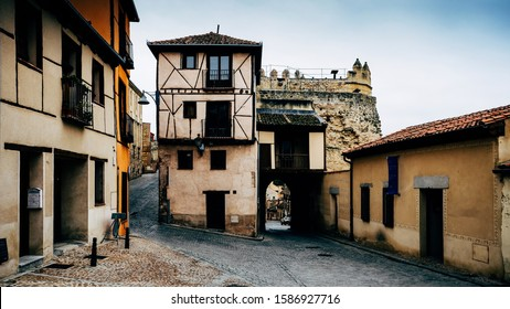 Traditional buildings within the Jewish Quarter of Segovia, Castile-Leon, Spain.