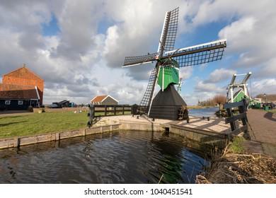 Traditional buildings in the Zaanse Schans, Zaandam, The Netherlands