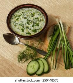 Traditional Bulgarian food - tarator - cucumbers, dill, yogurt and garlic soup