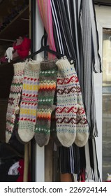 Traditional bulgarian motley wool stocking knitting by hand