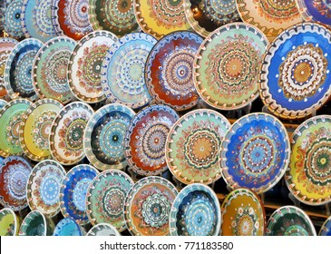 traditional Bulgarian plates with folk painting