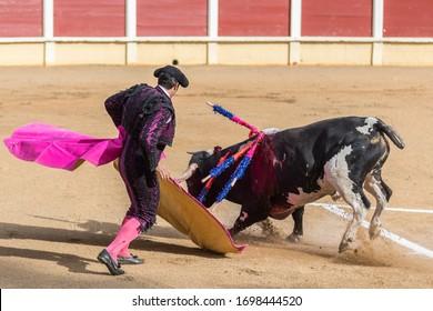 Traditional Bullfighting and corrida, matador and bull