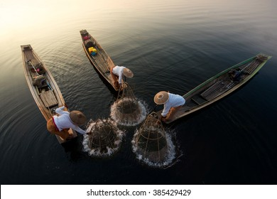 Traditional Burmese Fishermen at Inle lake, Myanmar