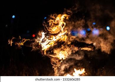 Traditional burning of effigy on bonfire