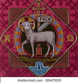 Traditional burse with hand-embroidered Lamb of God Easter symbol, made by Benedictine Sisters in former Art Needlework Department of Saint Benedict's Monastery, St. Joseph, Minnesota