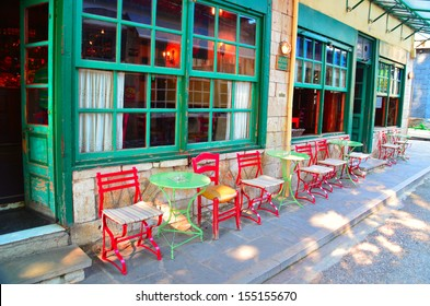 traditional cafe in Ioannina Greece chairs outside colors summer