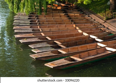 Traditional Cambridge punting boats set in row in a dock