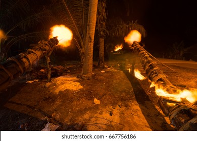 Traditional cannon made from coconut tree. The event is normally held during Eid-Mubarak celebration.