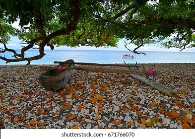 Traditional canoe on Pentecost beach in Vanuatu