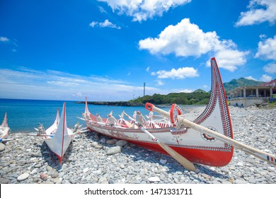 """The traditional canoes at Lanyu island in Taiwan. The Canoes there is called """"tatala"""", Lanyu island also is called Orchid Island. The native people is called """"Tao""""."""