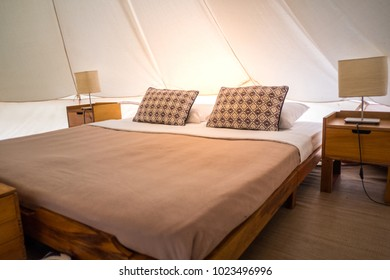 Traditional canvas bell tent, The Canvas Boutique Camp, Canvas camping, Bedroom for traveler at Suan Phung Ratchaburi in Thailand.