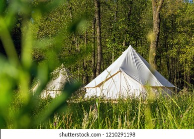 Traditional canvas bell tent outdoors in woods. Glamping at the forest